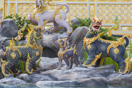 Bangkok, Thailand - NOV 6, 2017: Animal creatures in The Royal Crematorium for HM King Bhumibol Adulyadej at Sanam Luang  prepared to be used as The royal funeral Cremation Ceremony Pra May Ru Maat