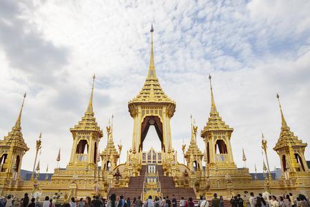 Bangkok, Thailand - NOV 4, 2017: The Royal Crematorium for King Bhumibol Adulyadej at Sanam Luang prepared to be used as The royal funeral Cremation Ceremony Bangkok Thailand Pra May Ru Maat