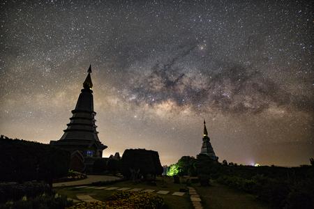 The Milky Way Star beautiful sky on Doi Inthanon mountain, Chiang Mai, Thailand. Фото со стока