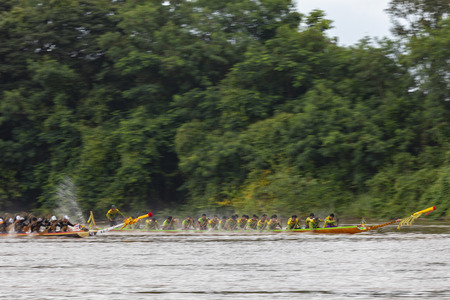 PHICHIT , THAILAND - SEP 2 2018: Thai Traditional Long Boat Racing 2018 At Nan River in front of Tha Luang Temple Phichit Thailand Editorial