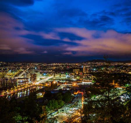 Sample photo view of Oslo at night, Norway, Scandinavia Stock Photo