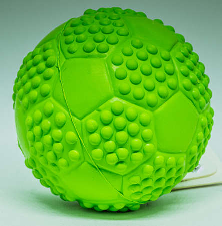 Pictures showing a small green rubber ball