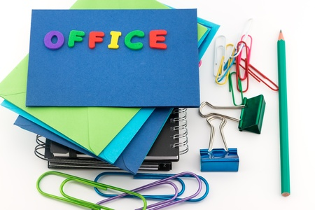 large group of items: Office supplies on white background Stock Photo