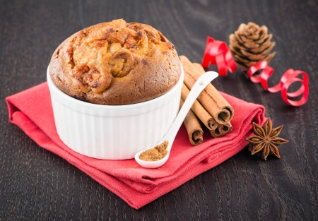 Delicious apple muffins with cinnamon - sweet food photo