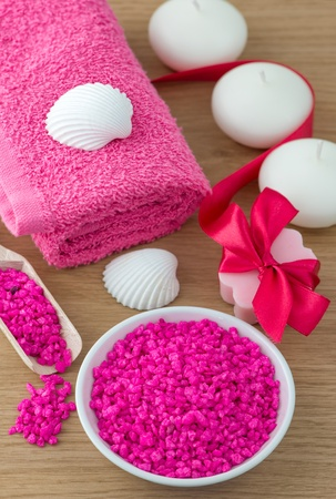Spa and bath accessories with salt,soap and towel photo