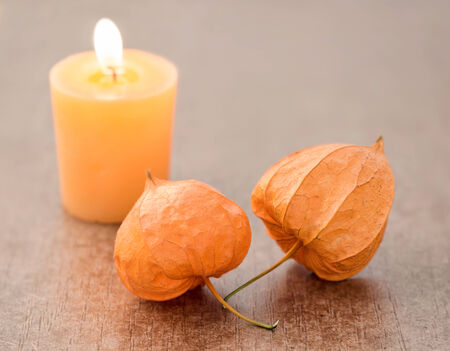 alkekengi: Autumn decoration with candle and Physalis alkekengi on wood Stock Photo