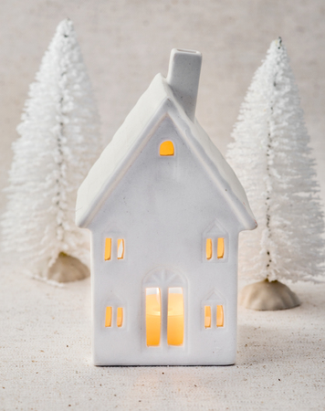 House christmas decoration and snowed trees photo