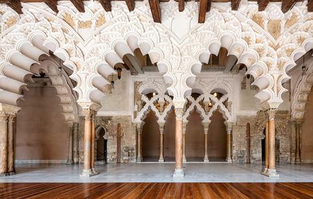 pilasters: Arabic arches at Aljaferia Palace in Zaragoza, Spain