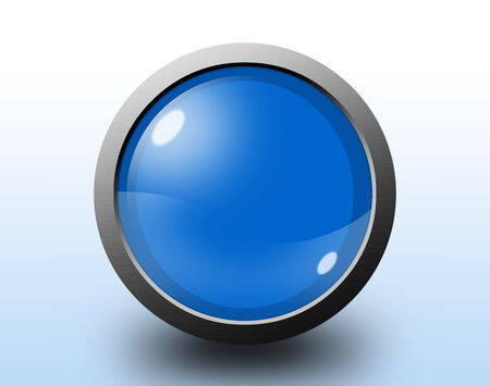 Glossy circular blue button on blue background photo