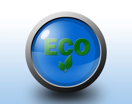 Eco icon. Glossy blue button. Stok Fotoğraf