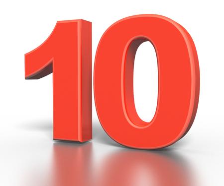 abecedario: 3d colecci�n n�mero rojo - 10 Foto de archivo