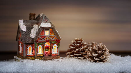 light house: Christmas house and pine cone in the snow, christmas decoration
