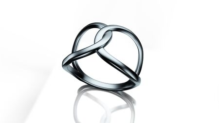 silver ring: Infinity shaped silver ring 3d illustration