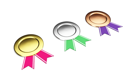silver medal: Gold, silver, bronze badges set isolated on a white background 3D illustration render Stock Photo