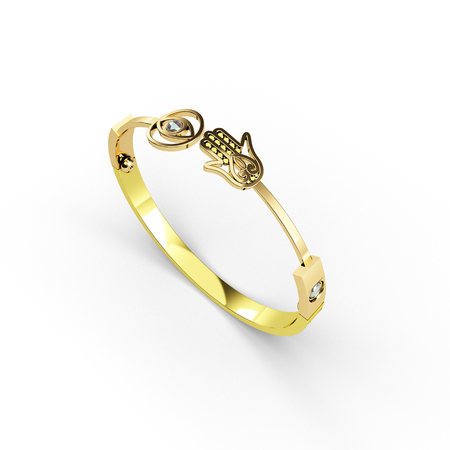 golden bracelet with hamsa symbol 3d illustration render.