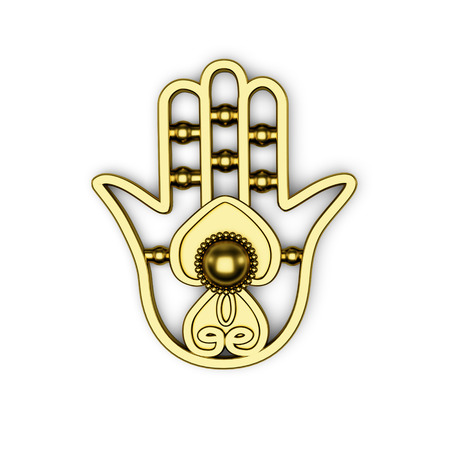 fatima: golden hamsa (Fatima hand) symbol 3d illustration render isolated on white background. Top view with shadows Stock Photo