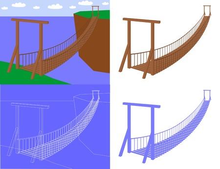 Suspension bridge in perspective view (vector) Illustration