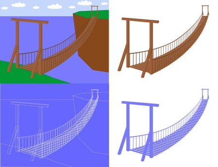 footbridge: Suspension bridge in perspective view (vector) Illustration