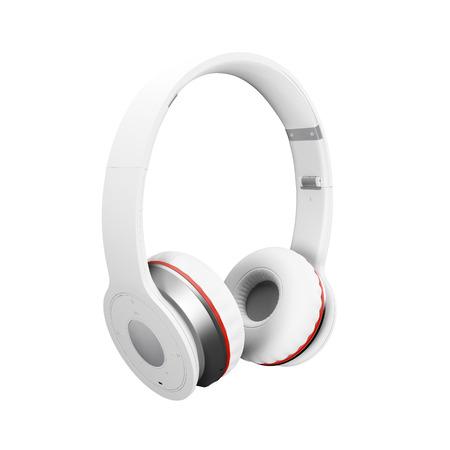 White wireless headphones isolated on white background d illustration render. Standard-Bild