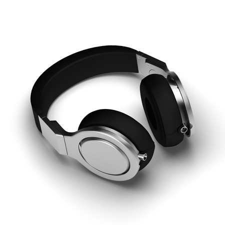 portable audio: Black leather headphones isolated on white background 3d illustration render on a surface with shadows.