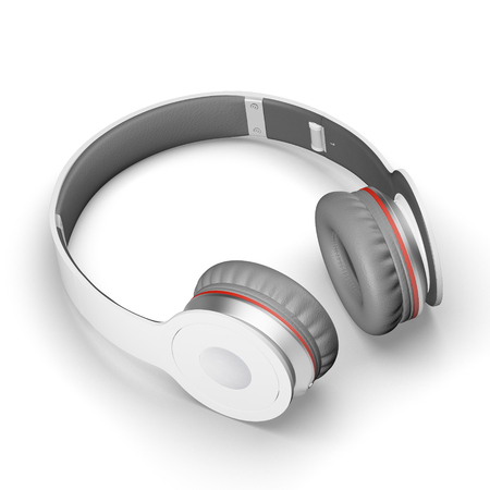 White with gray wireless headphones isolated on white background 3d illustration render on a surface with shadows.