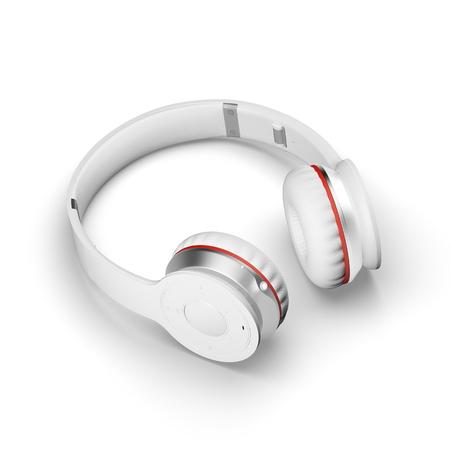 cable telefono: auriculares inalámbricos de color blanco sobre fondo blanco ilustración 3d rinden en una superficie con sombras. Foto de archivo