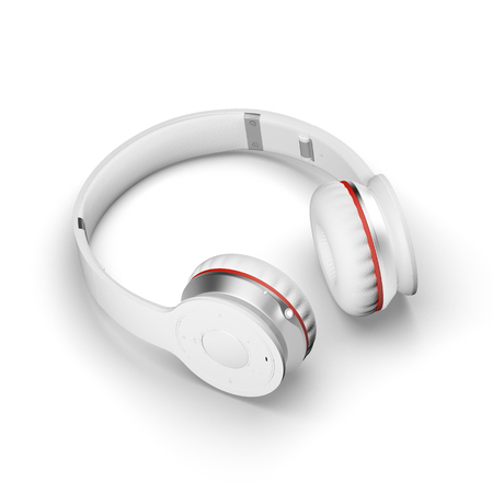 portable audio: White wireless headphones isolated on white background 3d illustration render on a surface with shadows.