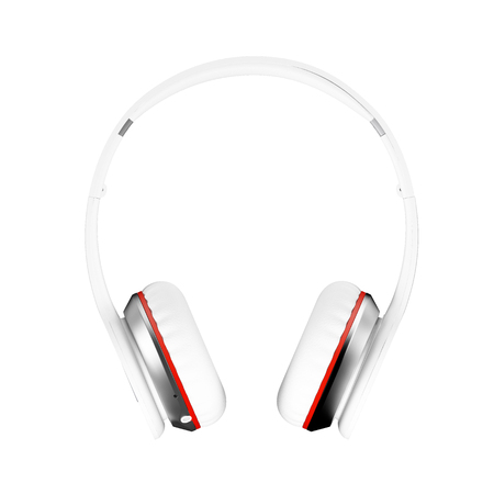 White wireless headphones isolated on white background 3d illustration render front view.