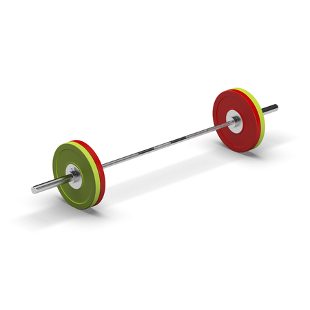 kilos: Barbell isolated on white background. 3d illustration render on white.