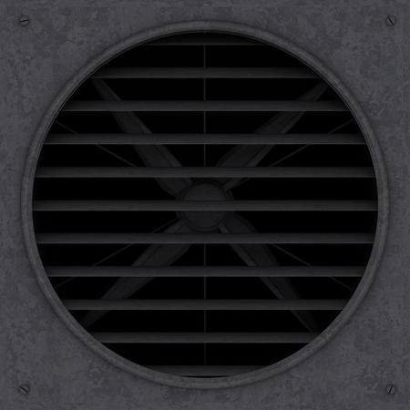 bleak: Old rusty ventilation fan with jalousie 3d illustration render.
