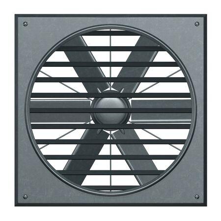 bleak: Metallic ventilation fan with jalousie 3d illustration render.