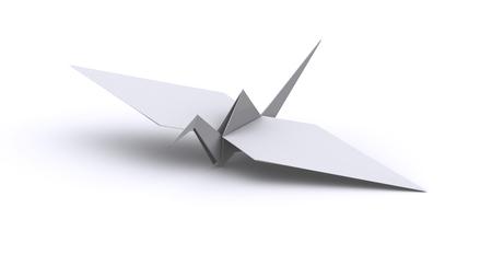 White origami crane 3d illustration render. Stock Photo