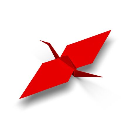 Red origami crane 3d illustration render. Stock Photo