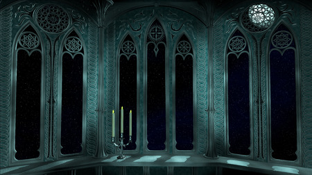 Gothic balcony in old castle 3d render background