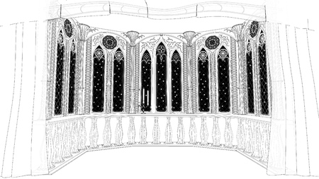 february 14th: Gothic balcony in old castle 3d render illustration background