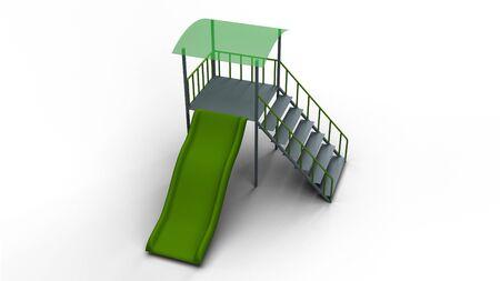 slide for children with roof 3d illustration render
