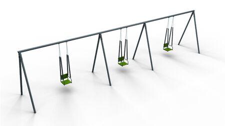 recess: triple swing 3d illustration render