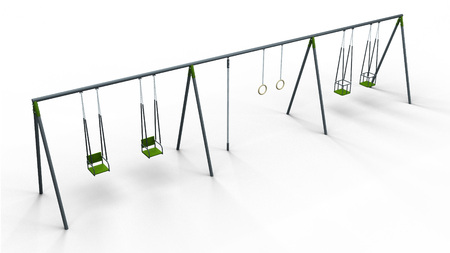 recess: double swing rope and rings 3d illustration render Stock Photo