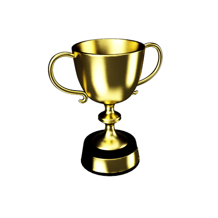 Gold cup set isolated on a white background no shadows easy to edit 3D illustration render