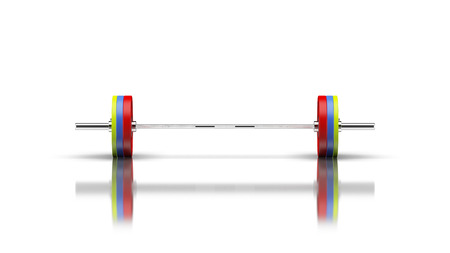 Barbell with 3 discs on both sides front view 3d render