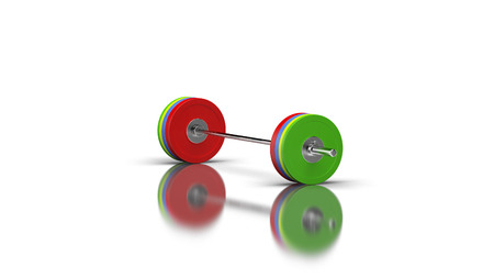 Barbell on a white background with shadows and reflections on the floor with 4 discs on both sides Standard-Bild