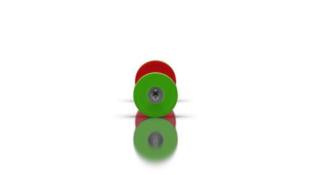 両側の側面図 3D イラスト レンダリングに 4 枚のディスクを持つ床に影と反射を持つ白い背景のバーベル 写真素材