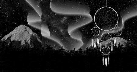 dreamcatcher on a night sky background 3d illustration render
