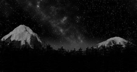 night winter forest sky and mountains background 3d illustration render Standard-Bild