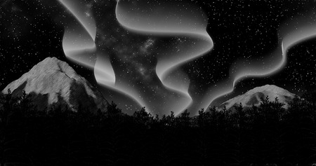 night winter aurora borealis forest sky and mountains background 3d illustration render