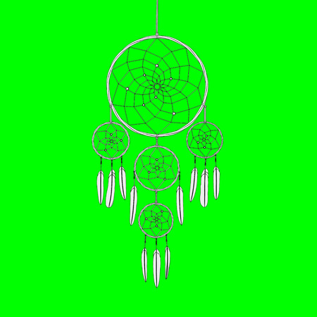 dreamcatcher on green screen background 3d illustration render