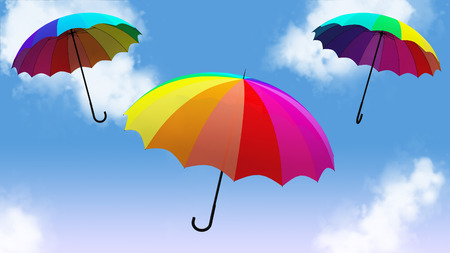 Umbrella flying 3d illustration render