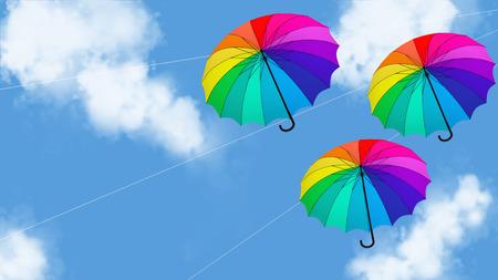 umbrella hanging animation 3d illustration render