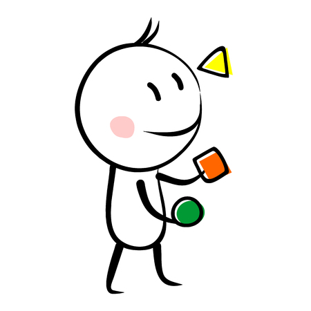 Funny character juggling with figures animation