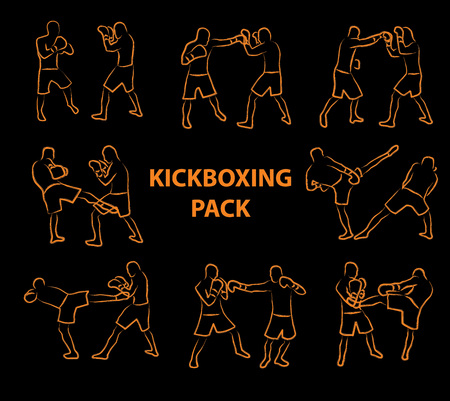 Two kickboxing fighters fighting cartoon style Illustration